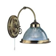 American Diner Wall Light in Antique Brass with Clear Ribbed Glass, Switched - SEARCHLIGHT 9341-1